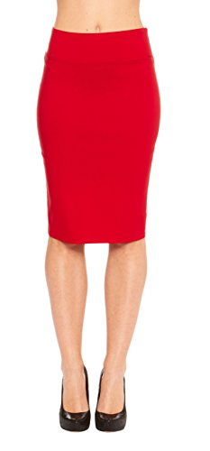 Red Hanger Women's Fitted Bodycon Business Casual Pencil Skirt - Made in USA, Red-M (Red Pencil Skirt compare prices)