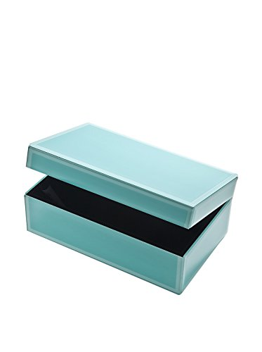 Godinger Blue Glass Jewelry Box Medium,  8.25x5.50x3.25