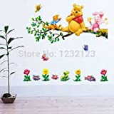 Winnie The Pooh Flowers Wall Decals Sticker Decor PVC Removable Kids Nursery C01