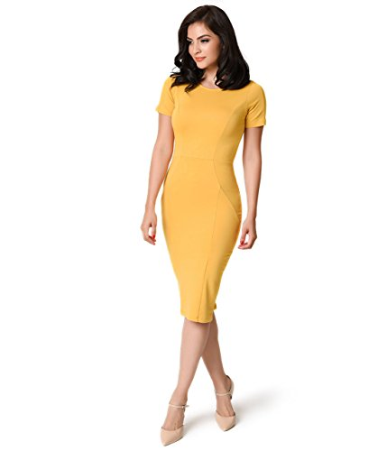 Unique Vintage 1960s Mustard Short Sleeve Stretch Mod Wiggle Dress (Mod Clothing compare prices)