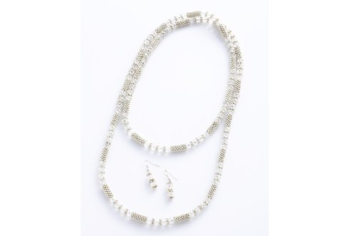 Fashion Wrap Necklace Earring Set 8mm White Crystal Beads 42''
