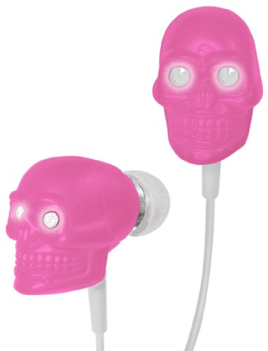Ihip Ip-Skull-P Eyes Skull Earphones With Led Light (Pink With White)