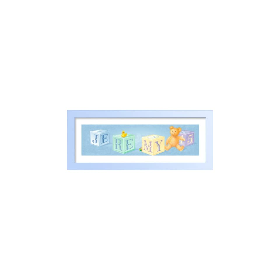 Baby building blocks, teddy bear and a yellow duck Baby Shower Gift, Framed Childrens Art, Nursery Wall DŽcor