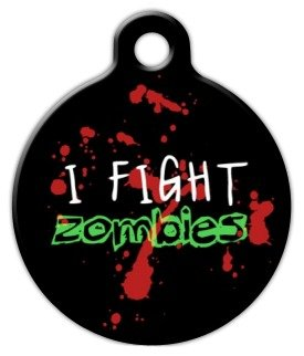 Dog Tag Art Custom Pet ID Tag for Dogs - Zombie Fighter - Large - 1.25 inch