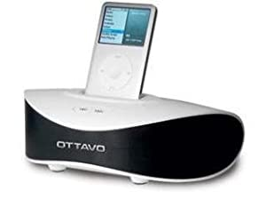 Ottavo OT1240W Speaker 30-Pin with Integrated Alarm Charging while Playing for iPods and iPod Touch - White color