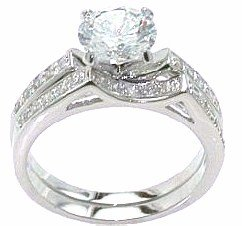 Clear Cubic Zirconia Rhodium Plated Wedding and Engagement Ring Set in Size 7 8