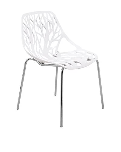 LeisureMod Modern Asbury Dining Chair With Chromed Legs, White