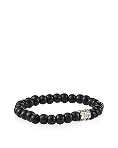 Rave by PerePaix Silver-Tone & Black Wood Bead Bracelet