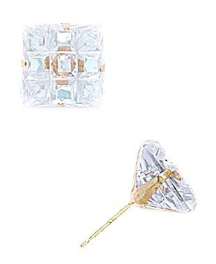 14k Yellow Gold 10x10mm 9 Segment Square CZ Light Prong Set Earrings - JewelryWeb
