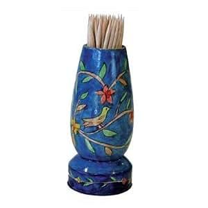 Toothpick holder pocket dispenser yair emanuel painted wooden toothpick stand - Wooden pocket toothpick holder ...
