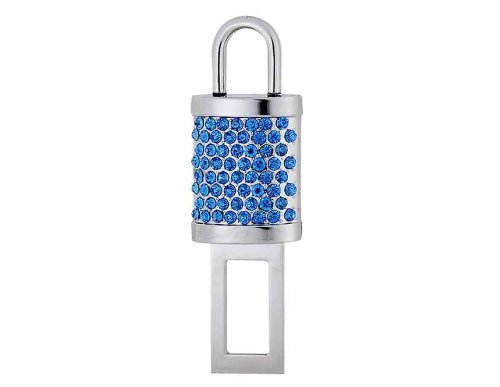 Magnetic Crystal Lock Shaped Car Auto Safety Seat Belt Buckle (Blue) front-406794