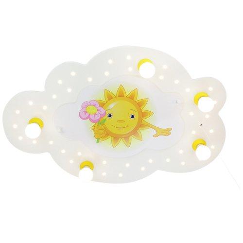 Kinder Lampe Bildwolke Sonne mit Blume Deckenleuchte Kinderzimmer Holz mit Nachtlicht LED, weiß 126479