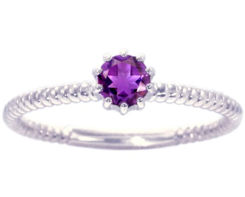 14K White Gold Petite Round Gemstone Solitaire Stackable Ring-Amethyst, size5.5