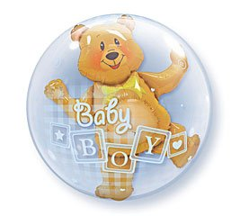 "Baby Boy Bear Bubble Balloon 24"" High Quality Qualatex"
