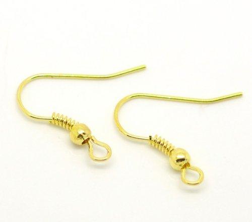 100 Gold Plated Earring wire Hooks Earring Findings 21x18mm