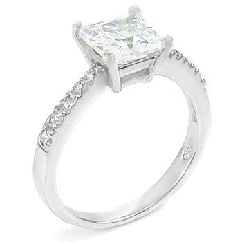 2 Ct Cz Princess Cut Engagement Ring .925 Silver (6)