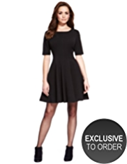 Petite Panelled Seam Skater Dress