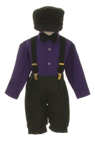 Vintage Dress Suit-Bowtie,Suspenders,Knickers Outfit Set For Baby Boys & Toddler, Black-Purple-18 Months front-963133