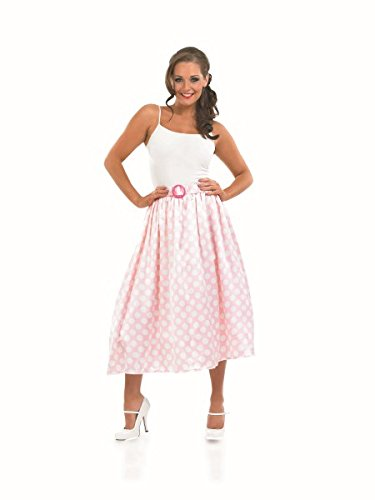 Adult Ladies 50s Rock and Roll Pink & White Skirt Costume