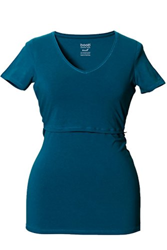 Boob V Neck Short Sleeve Maternity Nursing Top - Petrol - Large front-12596