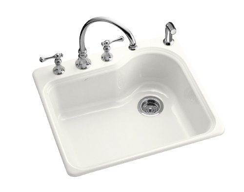 Kitchen Sink Discount : Cheap KOHLER K-5802-3-0 Meadowland Self-Rimming Kitchen Sink, White ...