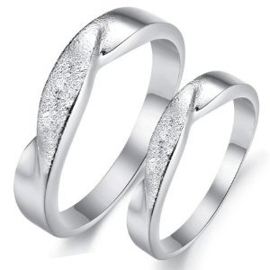 OPK South Korea Style Frosted Platinum Plated Wedding Band Anniversary/Engagement/Promise/Couple Ring Best Gift!