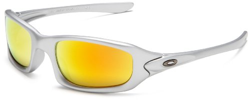Oakley Men's Fives Iridium Sunglasses,Silver Frame/Fire Lens,one size