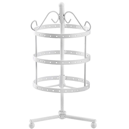 Yerwal 72 Holes Three-layer Rotating Earring Holder / Rotating Earring Rack / Earring Organizer Display Stand (White) (White Earring Rack compare prices)