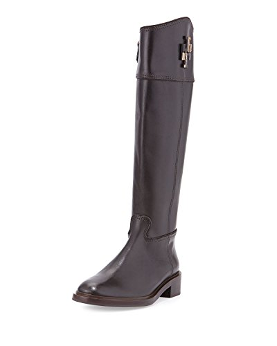 Tory Burch Lowell Logo Riding Leather Boots 7 Coconut