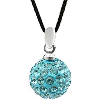 Silver 14MM Swarovski crystal Ball Necklace - Aquamarine - Crystal bling bling!! - comes with adjustable size 16