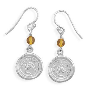 Victorian Wax Seal Sterling Silver Earrings Cornucopia Charm and Amber Bead, Made in the USA