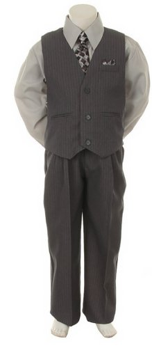 Stylish Dress Suit Outfit Pant, Vest & Tie Set-Infant Baby Boys & Toddler-Grey/Silver, 12 Months