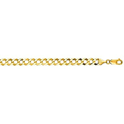 10K Solid Yellow Gold Comfort Curb Bracelet 7mm thick 8.5 Inches
