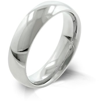 5mm High Polished Stainless Steel Wedding Band - Size: 5-14