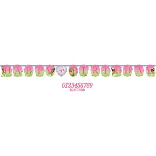 Amscan Dazzling Disney Tiana Enchanted Jumbo Add-an-Age Letter Birthday Party Banner (1 Piece), Pink/Green - 1