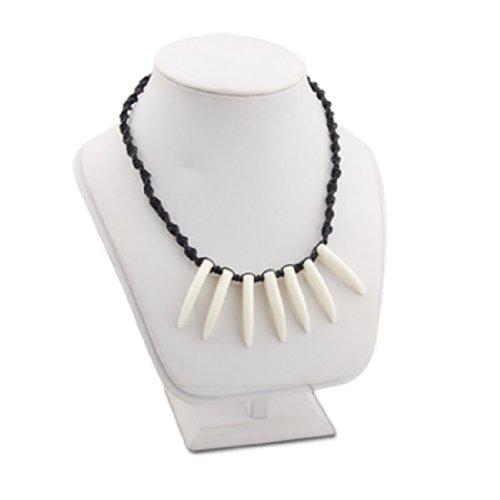 Rosallini Handcraft Necklace Black Rope W 7 White Horns Pendants