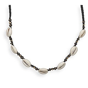 Black Macramé Fashion Necklace with Wood and Shell