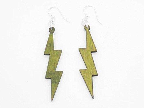 [Lemon Yellow Lightning Thunder Bolts Wooden Earrings Jewelry] (Thunder Lightning Costume)