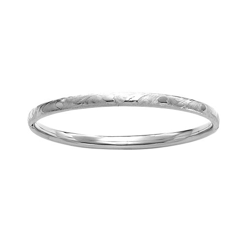 Sterling Silver Polished Guard and Hinge Bangle Bracelet with Heart and Leaf Pattern