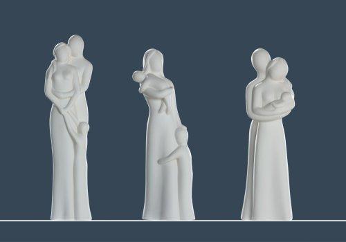 Gilde Skulptur Francis Paar 'Eltern mit Baby', 32 cm, creme Bild das Rechte thumbnail