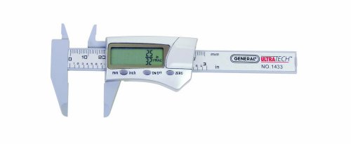 General Tools 1433 Fraction Plus Digital Fractional Caliper, Carbon Fiber, 3-Inch