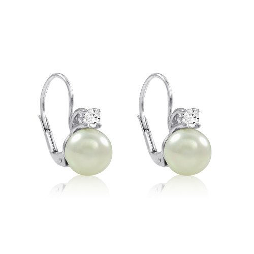 Sterling Silver White Shell Pearl and Cubic Zirconia Lever Back Earrings (8mm)