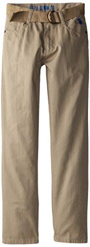 U.S. Polo Assn. Big Boys' Belted Twill 5 Pocket Pant, Light Khaki, 16