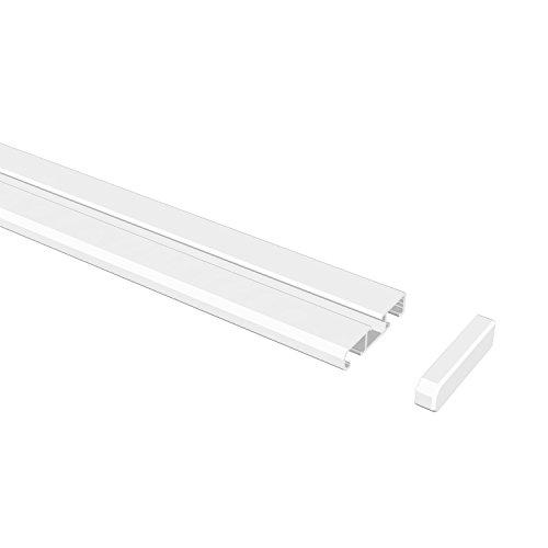 15021003 2832 Gardinenschiene, Wende-Vorhangschiene 1 und 2-läufig, 280 cm, weiß aus aluminium