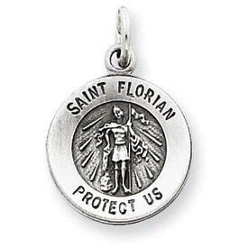 Sterling Silver Antiqued Saint Florian Medal