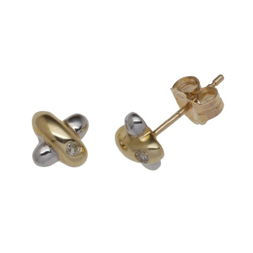 9ct Two-Colour Yellow  &  White 0.03ct Diamond Kiss Stud Earrings