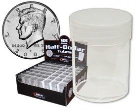 COIN STORAGE TUBES, round clear plastic w/ screw on tops for HALF DOLLARS (DISPLAY BOX of 98)
