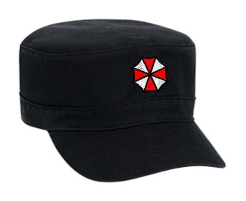 Umbrella Embroidered Military Style Cap - Black