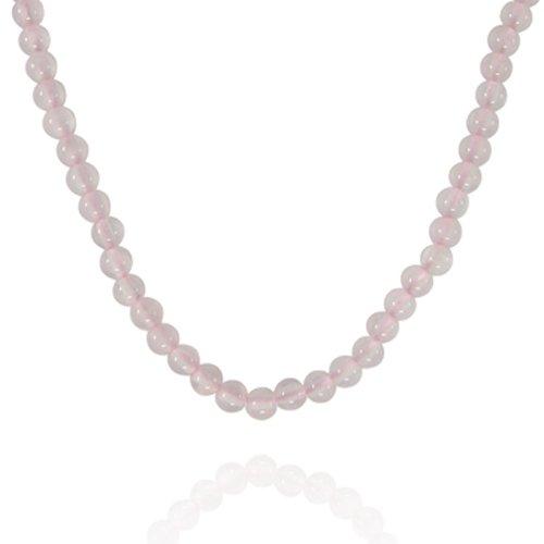 4mm Round Rose Quartz Bead Necklace, 16+2