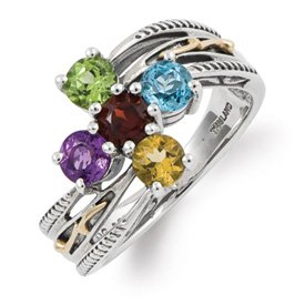 Genuine IceCarats Designer Jewelry Gift Sterling Silver & 14K Five-Stone Mother's Ring Mounting Size 8.00